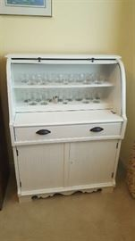 """$125 White painted roll top bar  measurements:  34""""W x 45""""H x 17"""" D"""