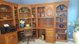 Beautiful solid oak desk wall unit   $925