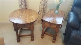Oak round table with drawer    $35   oak drop leaf table with drawer  $35