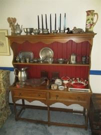 CHINA CABINET AND PEWTER ITEMS