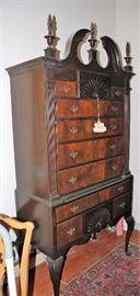 1930s 11-Drawer Mahogany Chest on Chest Tall Boy w/Turned Flame Finials & Original Brass