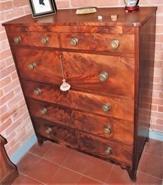 6 Drawer Burled Wood Chest w/Nice Original Brass Hardware