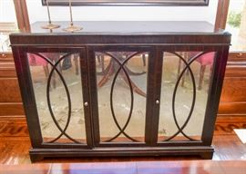"""Vintage Rosewood Zebrawood? Cabinet / Sideboard with Mirrored Doors (Approx 58""""L x 20""""W x 42""""H)"""