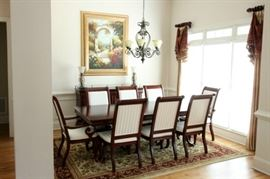 """Haverty's Dining Set - Pedestal Table with 2 leaves (full length is 112""""). 6 Side Chairs and 2 Arm Chairs. Sideboard. 8' x 11' Area Rug"""