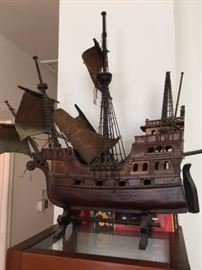 Wooden pirate ship model