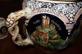 Close Up of Mug ~ Vintage REINHOLD MERKELBACH 3529 German Punch Bowl / Tureen with castles, includes 12 mugs / cups ~ Set is in Excellent Condition