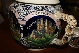 Other Side of Mug ~ Vintage REINHOLD MERKELBACH 3529 German Punch Bowl / Tureen with castles, includes 12 mugs / cups ~ Set is in Excellent Condition
