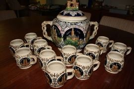 Vintage REINHOLD MERKELBACH 3529 German Punch Bowl / Tureen with castles, includes 12 mugs / cups ~ Set is in Excellent Condition