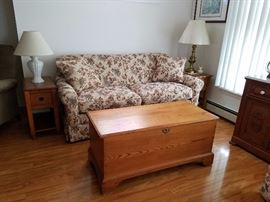 Lazboy sofa loveseat, antique trunk, Lane mission style end tables