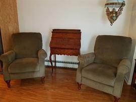pair recliners, drop down writing desk