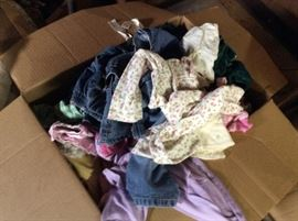 Large box of vintage baby clothes