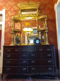 Massive 19th gilt gesso Egyptian Revival over mantle mirror purchased in Natchez, 18th century Georgian Continental mule chest