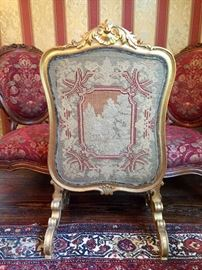 19th c. French tapestry giltwood firescreen