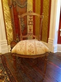 19th c. French petite needlepoint seat chair