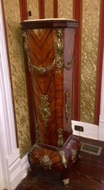 19th c. Marble top kingwood and ormolu pedestal