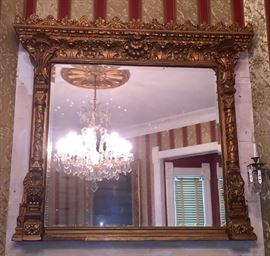 19th c. Massive giltwood over mantle mirror