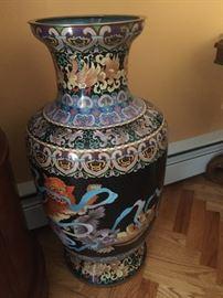 3 ft self standing vase. Colorful  Enamel design.