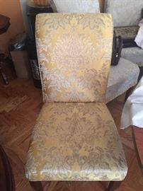 Victorian print 12 yellow dining room chairs
