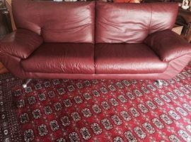 Italian; dark cherry; Leather sofa