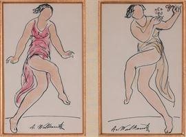 Abraham Walkowitz watercolor of Isadora Duncan