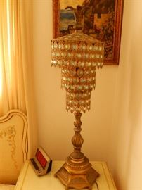 1 of 2 Hollywood Regency lamps (Castro Convertible)