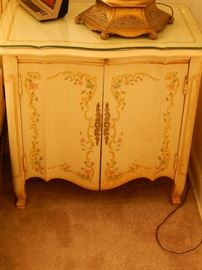 Matching night stand also with cut glass top.