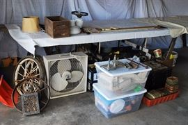 lots of stuff: old wheels, box fan, oil box, caboose lantern, painted hurricane lamp, lots of misc in bins to come out, very very old berry boxes