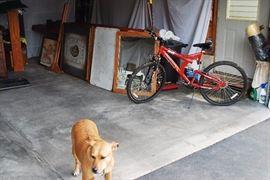 Mongoose Mountain Bike, antique oak frame beveled glass mirror, enamel table top, large framed artwork, sandart of a waterwheel barn, dog is not for sale. must bring treat for dog. :)