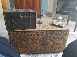 Possibly antique, unsure right now, amazing maybe teak Asian chest.