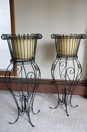 "Two (2) Plant Stands with Ceramic Pot Planters (Pale Yellow), 32""h"