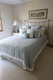Queen Bed, Mattress, Iron Head & Footboard