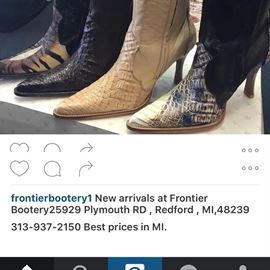 Tall shaft ladies boots, many colors left, gator, stinker, snake skin, hurry while they last