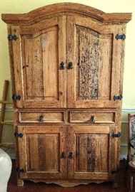 Rustic Handcrafted Pine Armoire.