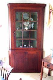 Mid 1800's 12 pane cherry corner cupboard