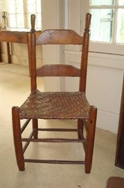 Shaker style antique rush seat chair.
