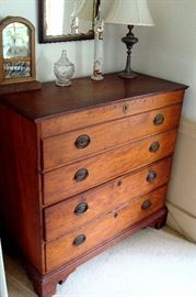 Chippendale period lift top blanket chest with two drawers below. Original pulls replaced with Sheraton period pulls.