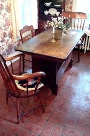 Antique Windsor chairs and Flip top table/bench.