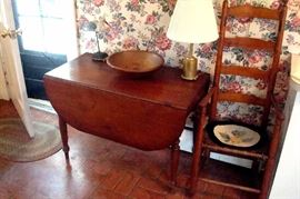 Antique cherry drop leaf table, Shaker high back rush seat chair & misc.
