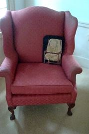 One of several wing back chairs.