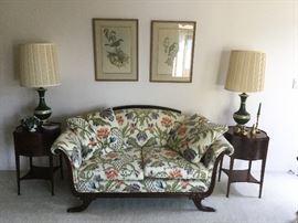 Empire sofa & mahogany end tables