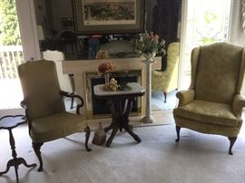 Two upholstered chairs by Hickory Chair, Victorian marble topped table & marble pedestal