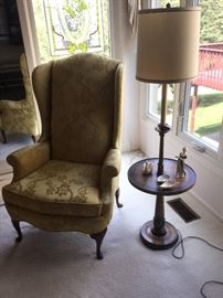Hickory Chair wingback chair & lamp table