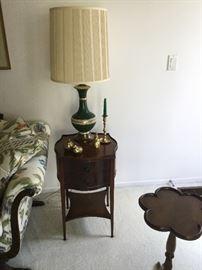 Mahogany end tables & green vintage lamps with original shades