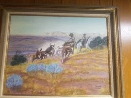 Original signed Western Americana painting by J. A. Cox