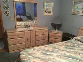 4 piece master bedroom set with matching headboard- (chest in separate photo) $600.
