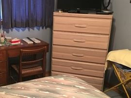 5 drawer chest for master bedroom set (included in bedroom set).  Desk and chair are separate items.