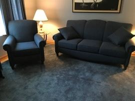 Deep blue sofa, with matching arm chair & pillows--excellent condition.  $500.