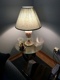 Glass lamp (set of 2) $50 each.  Glass end table(s)- $75 each.