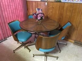 Kitchen dinette with wood table, 4 chairs-$200