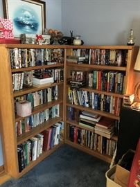 Matching book shelves 5 shelves each filled with DVDs and VHS tapes--shelves $75 each.  DVDs $2-$4, VHS $1-$3.